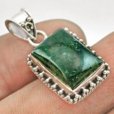 6.02cts natural green moss agate 925 sterling silver pendant jewelry t53131