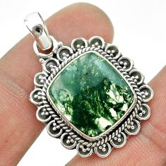 9.38cts natural green moss agate 925 sterling silver pendant jewelry t53221