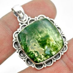13.27cts natural green moss agate 925 sterling silver pendant jewelry t53223