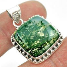 15.97cts natural green moss agate 925 sterling silver pendant jewelry t53231