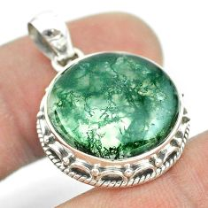 12.07cts natural green moss agate 925 sterling silver pendant jewelry t53233