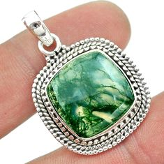 16.90cts natural green moss agate 925 sterling silver pendant jewelry t53234