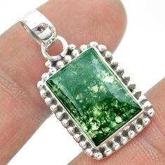 6.48cts natural green moss agate 925 sterling silver pendant jewelry t53239