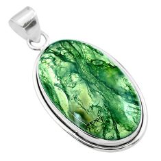 22.59cts natural green moss agate 925 sterling silver pendant jewelry t53582
