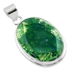 22.02cts natural green moss agate 925 sterling silver pendant jewelry t53584