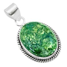 13.70cts natural green moss agate 925 sterling silver pendant jewelry t53586