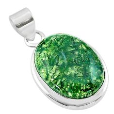 15.60cts natural green moss agate 925 sterling silver pendant jewelry t53587