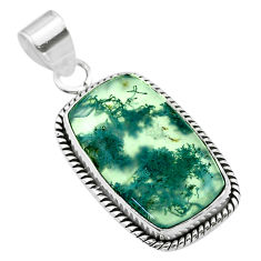 14.68cts natural green moss agate 925 sterling silver pendant jewelry t53589