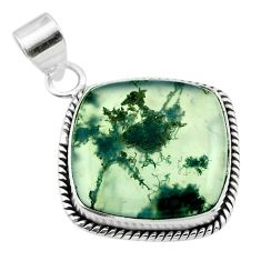 17.07cts natural green moss agate 925 sterling silver pendant jewelry t53590