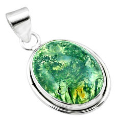 13.17cts natural green moss agate 925 sterling silver pendant jewelry t53593