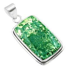 18.17cts natural green moss agate 925 sterling silver pendant jewelry t53595