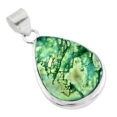 22.02cts natural green moss agate 925 sterling silver pendant jewelry t53598