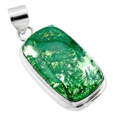 20.10cts natural green moss agate 925 sterling silver pendant jewelry t53599