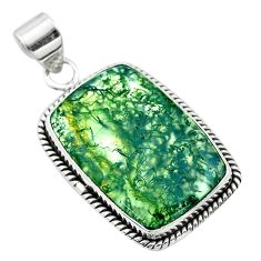18.15cts natural green moss agate 925 sterling silver pendant jewelry t53601