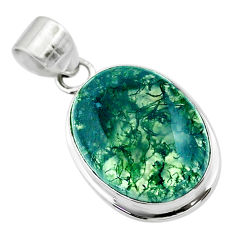 16.70cts natural green moss agate 925 sterling silver pendant jewelry t53602