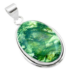 18.68cts natural green moss agate 925 sterling silver pendant jewelry t53604