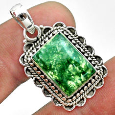 7.03cts natural green moss agate 925 sterling silver pendant jewelry t55485