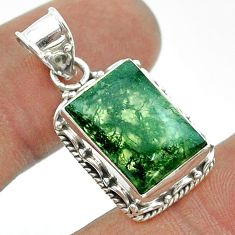 6.36cts natural green moss agate 925 sterling silver pendant jewelry t55992