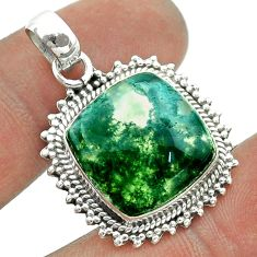 12.83cts natural green moss agate 925 sterling silver pendant jewelry t55993