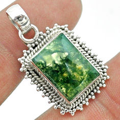 6.85cts natural green moss agate 925 sterling silver pendant jewelry t56001