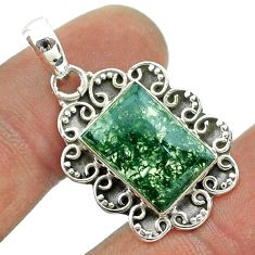 6.10cts natural green moss agate 925 sterling silver pendant jewelry t56005
