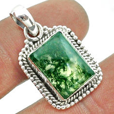 6.32cts natural green moss agate 925 sterling silver pendant jewelry t56015
