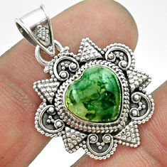 5.10cts natural green moss agate 925 sterling silver pendant jewelry t56043