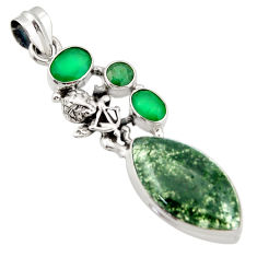 19.00cts natural green moss agate chalcedony 925 silver angel pendant d47251