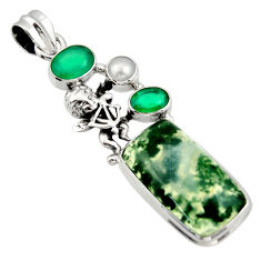 19.12cts natural green moss agate chalcedony 925 silver angel pendant d47255