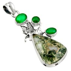 20.75cts natural green moss agate chalcedony 925 silver angel pendant d47257