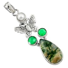 Clearance Sale- 18.15cts natural green moss agate chalcedony 925 silver butterfly pendant d45108