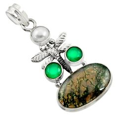 18.17cts natural green moss agate chalcedony 925 silver dragonfly pendant d45112