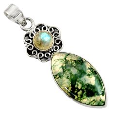 16.87cts natural green moss agate labradorite 925 sterling silver pendant d45106