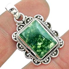 6.84cts natural green moss agate octagan 925 sterling silver pendant t56007