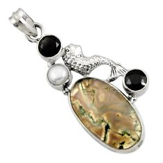 Clearance Sale- 23.46cts natural green moss agate onyx pearl 925 silver fish pendant d45121