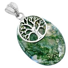 35.30cts natural green moss agate oval 925 silver tree of life pendant r74491