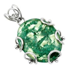 17.50cts natural green moss agate oval 925 sterling silver pendant t31869