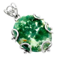 17.50cts natural green moss agate oval sterling silver pendant jewelry t31863