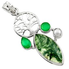 16.70cts natural green moss agate pearl 925 silver tree of life pendant d45107