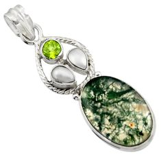 Clearance Sale- 16.67cts natural green moss agate peridot 925 sterling silver pendant d45109
