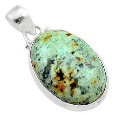 16.70cts natural green norwegian turquoise 925 sterling silver pendant t39331