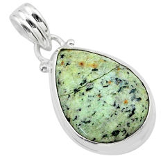 12.58cts natural green norwegian turquoise 925 sterling silver pendant t39338