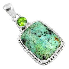 14.72cts natural green norwegian turquoise peridot 925 silver pendant r94501
