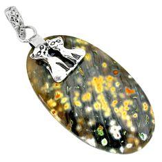 26.91cts natural green ocean sea jasper (madagascar) 925 silver pendant r91241