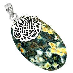 31.57cts natural green ocean sea jasper (madagascar) 925 silver pendant r91242