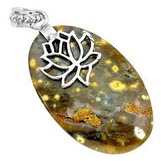 30.84cts natural green ocean sea jasper (madagascar) 925 silver pendant r91243