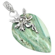 21.02cts natural green opal 925 sterling silver angel wings fairy pendant r91419