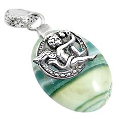 19.90cts natural green opal 925 sterling silver cupid angel wings pendant r91407