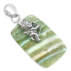 16.83cts natural green opal 925 sterling silver cupid angel wings pendant r91410