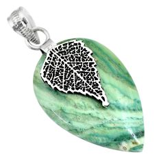 20.04cts natural green opal 925 sterling silver deltoid leaf pendant r91414